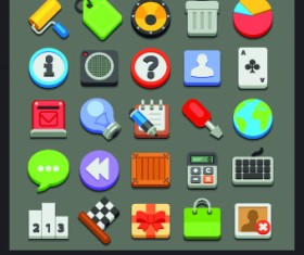 Different Flat icons vector set 03