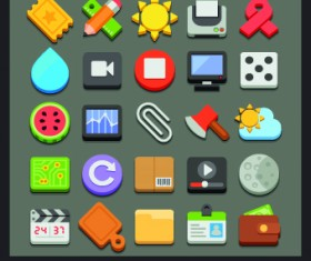 Modern Icons objects vector set 04