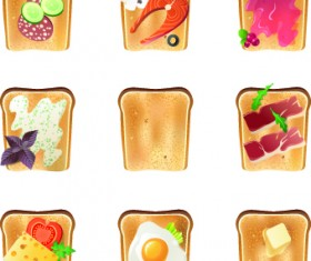Different Food objects icons vector 02