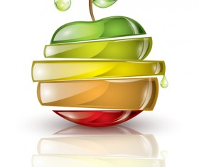 Glass Drinks and Fruits vector set 03