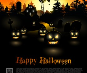 Happy Halloween backgrounds vector set 03