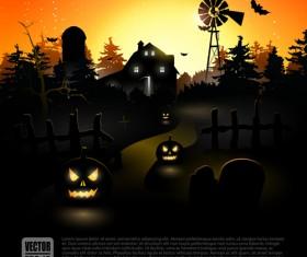 Happy Halloween backgrounds vector set 04