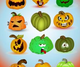 Halloween Jack O Lantern Vector set 02
