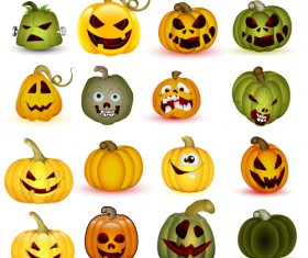 Halloween Jack O Lantern Vector set 03
