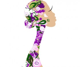 Hand drawn Girls with Flowers vector 06