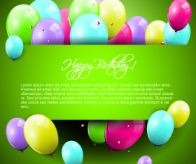Colorful balloons happy birthday Greeting Cards background 01