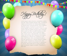 Colorful balloons happy birthday Greeting Cards background 02