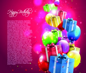 Colorful balloons happy birthday Greeting Cards background 03