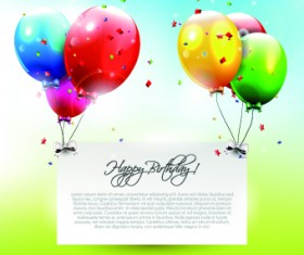 Colorful balloons happy birthday Greeting Cards background 04