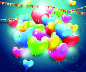 Colorful balloons happy birthday Greeting Cards background 05