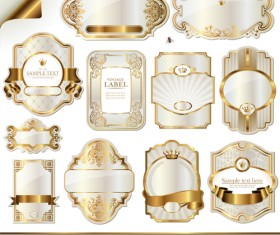 Luxury gold label border vector 01