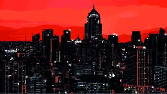 Draw Nightlife city design vector 01