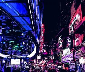 Draw Nightlife city design vector 02
