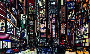 Draw Nightlife city design vector 03