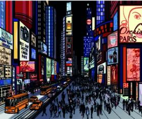 Draw Nightlife city design vector 06