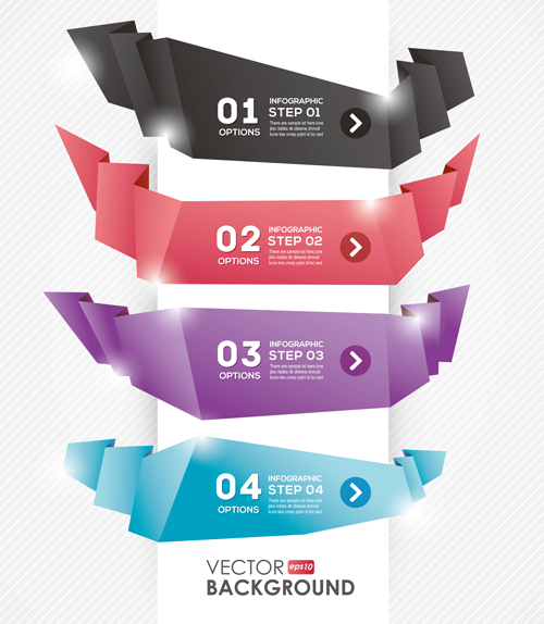 Numbered Banners backgrounds vector 01