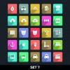 Paper cut icons vector set 01