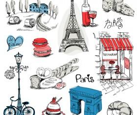 Paris symbols elements vector 04