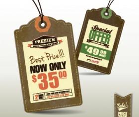 Cardboard Sale tag vector 02