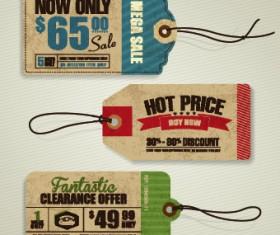 Cardboard Sale tag vector 04