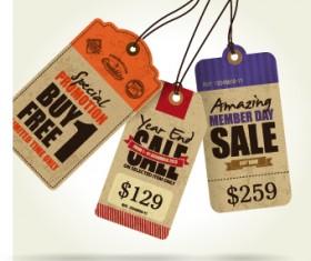 Cardboard Sale tag vector 05