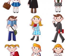 Cartoons School elements vector set 08