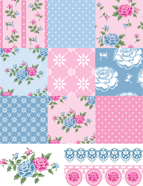 Vector set of floral seamless pattern 01