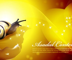 Snail with golden background vector 02