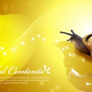 Link toSnail with golden background vector 03