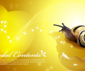 Snail with golden background vector 03