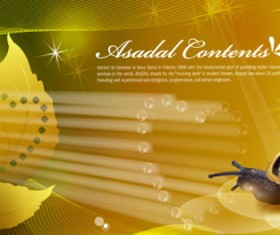 Snail with golden background vector 04