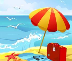 Summer beach travel backgrounds vector 04
