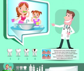 Creative teeth care infographics vectors 02