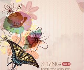 Vector Floral background art set 08