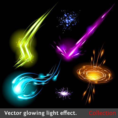 Colored Glowing light Effects vector 05