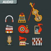 Link toVintage audio icons vector