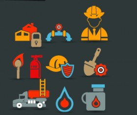 Vintage firefighters icons vector
