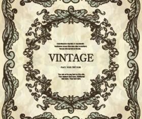 Vintage frame with floral elements vector 02