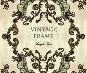 Vintage frame with floral elements vector 03