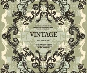 Vintage frame with floral elements vector 04