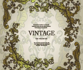 Vintage frame with floral elements vector 05