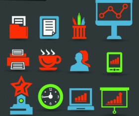 Vintage office icons vector