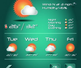 Weather icons mobile Application vector 03