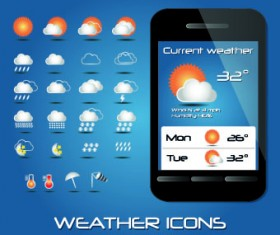 Weather icons mobile Application vector 05