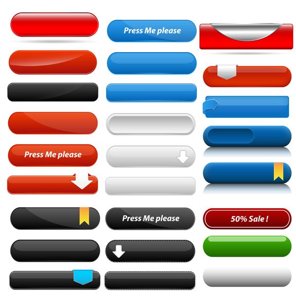 Web Menu Buttons Vectors Free Download - Website menu design templates