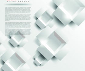 White 3D shapes background vector 03
