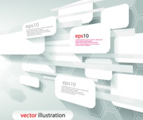 White 3D shapes background vector 04