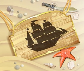 Wooden Pirate Tag vector 01