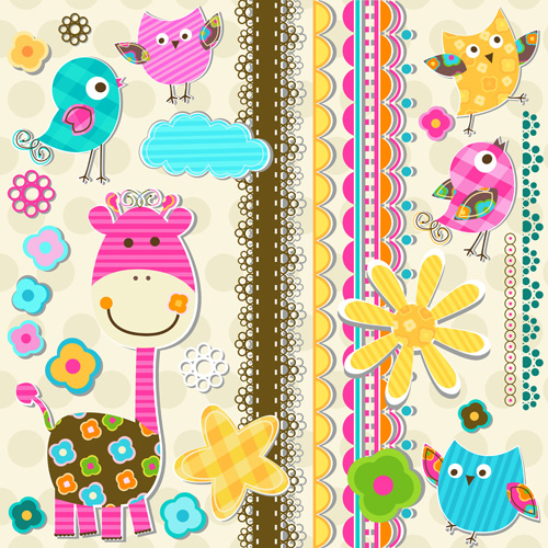 Paper Art Baby Backgrounds Vector 03 Vector Background