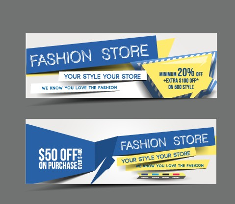Stylish elements banners vector 02